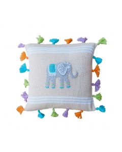 Ecru & White Handmade Elephant Tassel Children's Pillow