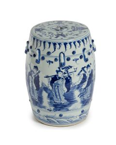 Eight Immortals Motif Blue and White Garden Stool