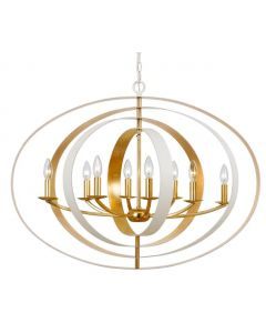 Eight Light Matte White and Antique Gold Sphere Chandelier