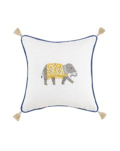 Elephant Embroidered Pillow with Tassels