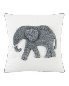 White and Grey Elephant Design Decorative Throw Pillow for Children