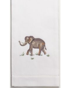 Set of 2 Elephant Design Embroidered Cotton Hand Towels