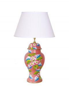 Elise Floral Tole Table Lamp in Coral