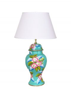 Elise Floral Tole Table Lamp in Turquoise