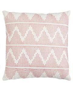 Embroidered Zig Zag Design Cotton Decorative Pillow in Salmon Pink and Cream