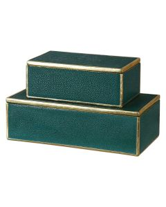 Emerald Green Decorative Storage Boxes with Gold Leaf Trim