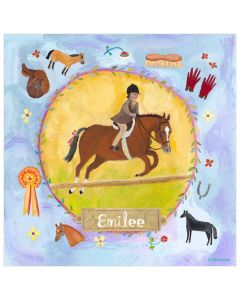 Blue and Yellow Equestrian Champion With Jockey Canvas Wall Art for Kids