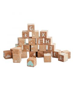 Etched Wood Alphabet and Numbers Baby Blocks