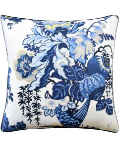 Fairbanks Square Linen Decorative Pillow in White and Blue – Available in Two Sizes