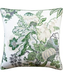 Fairbanks Square Linen Decorative Pillow in Green and White – Available in Two Sizes