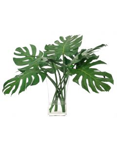 Faux Split Leaf Philodendron Leaves in Flared Rectangle Glass Vase