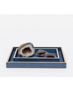 Pigeon & Poodle Manchester Faux Shagreen Nesting Bathroom Vanity Trays in Navy