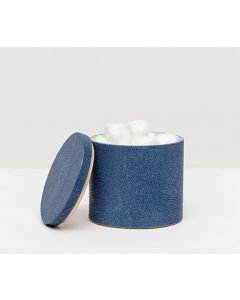 Pigeon & Poodle Manchester Faux Shagreen Round Bathroom Canister in Navy