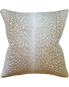 Fawn Doe White and Tan Animal Print Decorative Square Throw Pillow - Available in Two Sizes