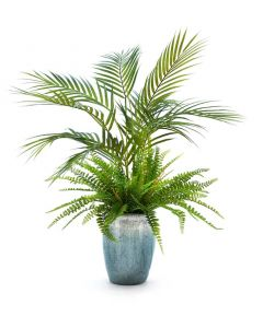 Faux Fern and Palm in Stone Pot