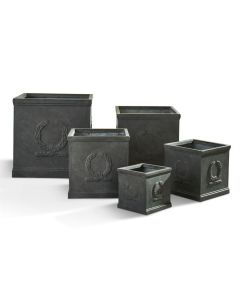 Set of 5 Fibreclay Square Olympic Wreath Planters in Faux Lead