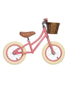 Vintage Style Toddler Balance Bike With Basket in Coral - Optional Matching Bike Helmet Available