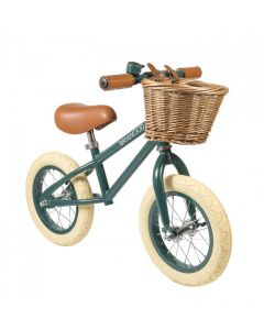Vintage Style Toddler Balance Bike With Basket in Green- Optional Matching Bike Helmet Available