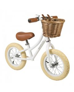 Vintage Style Toddler Balance Bike With Basket in White- Optional Matching Bike Helmet Available