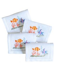 """Set of 4 Embroidered """"Fish Kiss"""" Fold-over Cocktail Napkins"""