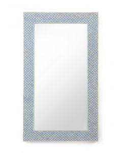 Blue and Cream Bone Inlay Rectangular Mirror With Fish Scale Design