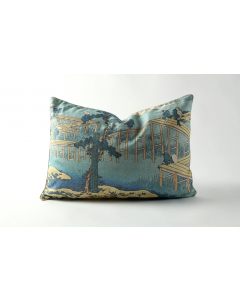 Fisherman on Bridge Linen Pillow