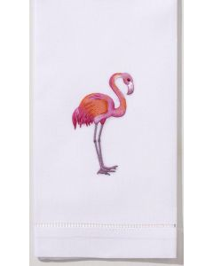 Set of 2 White Cotton Flamingo Hand Towels