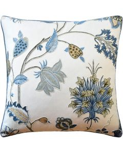 Floral Design Decorative Throw Pillow in Soft Blue - Available in Two Sizes