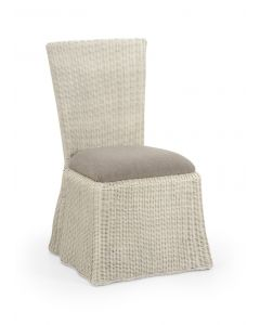 Florence Wicker Waves Scalloped Dining Chair in Whitewash - ON BACKORDER UNTIL MAY 2021