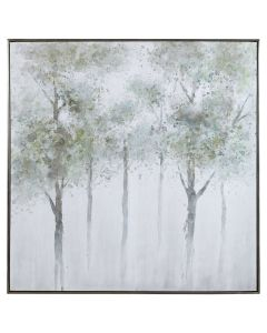 Forest Landscape Hand Painted Canvas with Silver Gallery Frame