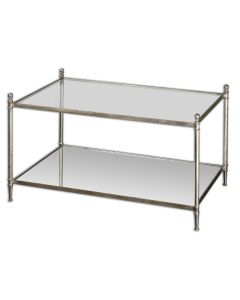 Forged Iron Coffee Table with Mirror Top and Glass Shelf