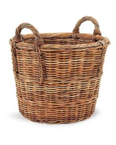 French Country Rattan Woven Log Storage Basket - ON BACKORDER UNTIL EARLY JUNE 2021