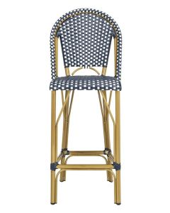 French Bistro Outdoor Bar Stool in Navy and White