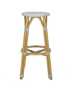 French Bistro Style Outdoor Counter Stool in Grey and White