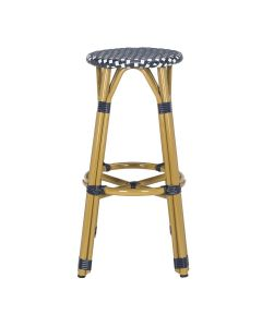 French Bistro Style Outdoor Counter Stool in Navy and White