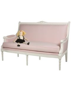French Pink and White Sofa With Floral Nailhead Trim