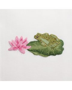 Frog and Lotus Hand Towel - IN STOCK IN OUR GREENWICH STORE FOR QUICK SHIPPING