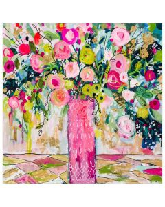 Colorful Springtime Bouquet Pink and Green Floral Canvas Wall Art for Kids