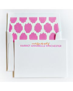 Fuchsia and Tangerine Personal Stationery, Set of 50