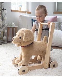 Fuzzy Golden Lab Ride On Push Toy For Babies