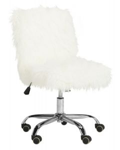 Fuzzy White Faux Sheepskin Office Chair