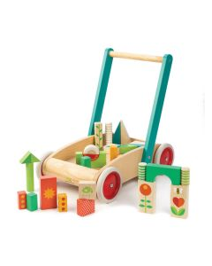 Garden Theme Walker Wagon Wooden Push Toy for Babies
