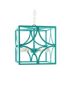 Square Iron Geo Chandelier - Available in a Variety of Colors