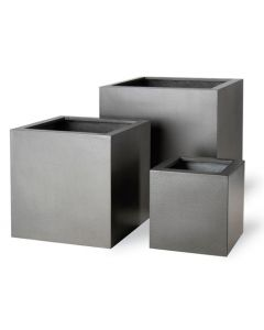 Modern Cube Shaped Garden Planter in Faux Lead - Available in Four Sizes