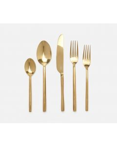 Geometric Design Modern Stainless Steel 5-Piece Flatware Set in Polished Gold Finish