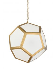 Geometric Multi Sided Contemporary Antique Brass and Glass Pendant Light