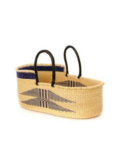 Ghanaian Indigo Angel Wings Moses Basket with Leather Handles