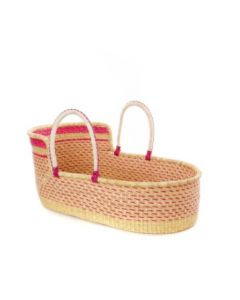 Ghanaian Primrose Moses Basket with Leather Handles