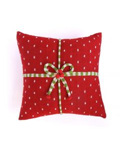 Gift Candy Stripe Handmade Pillow with Dots in Red, Ecru, & Green
