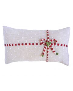 Gift Candy Stripe Holiday Lumbar Pillow with Dots
